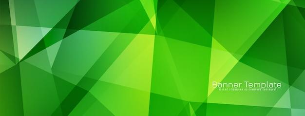 Diseño de banner verde geométrico moderno abstracto