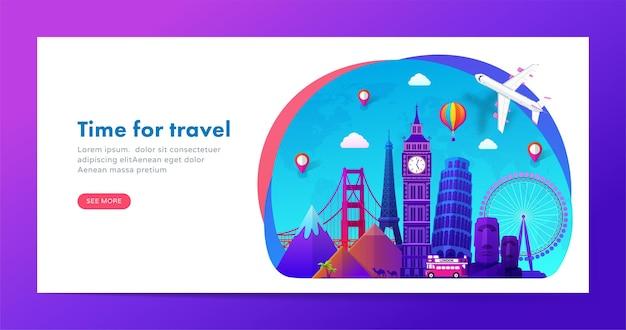 Diseño de banner de viaje con monumentos famosos en estilo degradado moderno