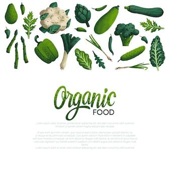 Diseño de banner web de alimentos orgánicos con una variedad de vegetales verdes decorativos
