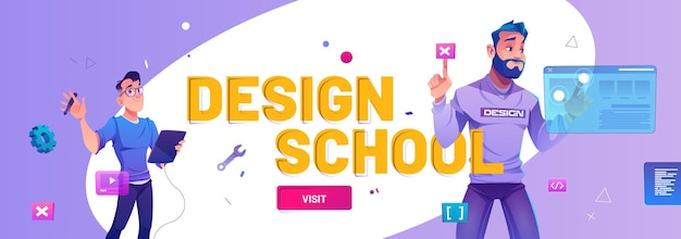Diseño de banner web de dibujos animados de la escuela