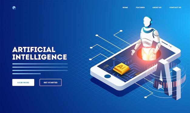 Diseño de banner web o página de aterrizaje basado en el concepto de inteligencia artificial con ilustración isométrica de robot humanoide y chip ai en la pantalla del teléfono inteligente.