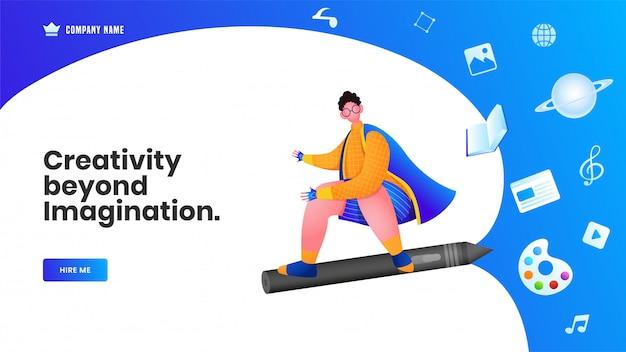 Diseño de banner web o página de aterrizaje, más allá de la imaginación del hombre volador con lápiz, libro, paleta de colores, nota musical