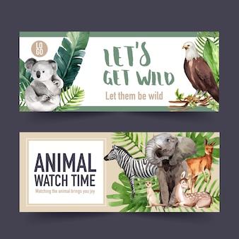 Diseño de banner de zoológico con cebra, koala, suricata ilustración acuarela.