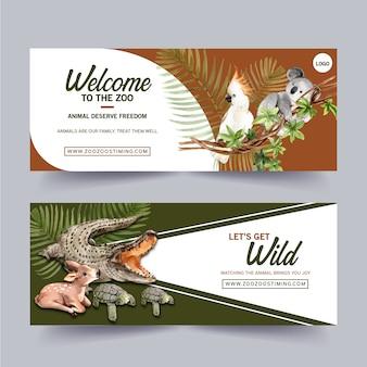 Diseño de banner de zoológico con cocodrilo, pájaro, ciervo acuarela ilustración.