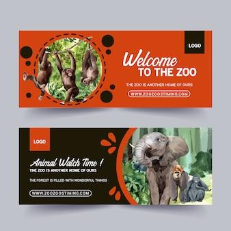 Diseño de banner de zoológico con elefante, mono acuarela ilustración.