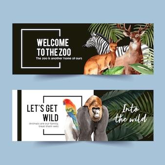 Diseño de banner de zoológico con gorila, cebra, ciervo acuarela ilustración.
