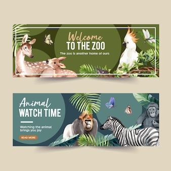 Diseño de banner de zoológico con ilustración de acuarela de gorila, cebra, mariposa.