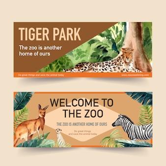 Diseño de banner de zoológico con leopardo, suricata ilustración acuarela.