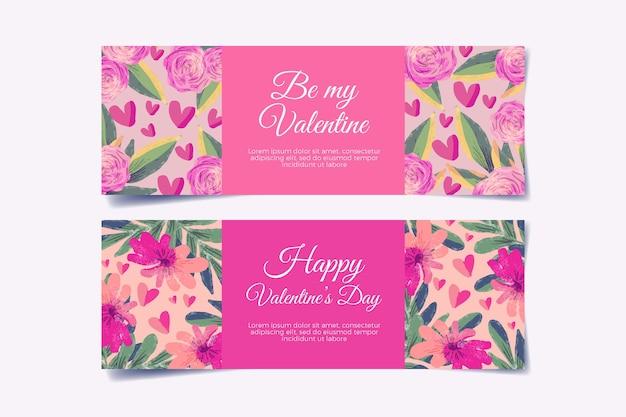 Diseño de banners de acuarela del día de san valentín
