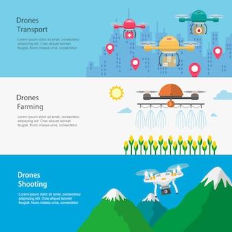 Diseño de banners de aplicaciones de drones en estilo plano.