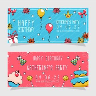 Diseño de banners de cumpleaños dibujados a mano