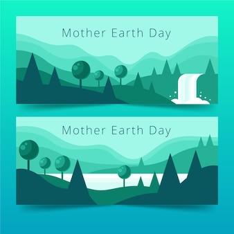 Diseño de banners de día de la madre tierra de diseño plano