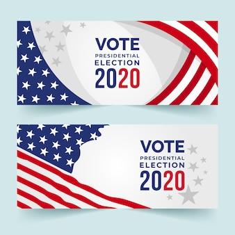 Diseño de banners de elecciones presidenciales de ee. uu. 2020