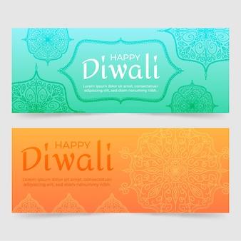 Diseño de banners de feliz diwali
