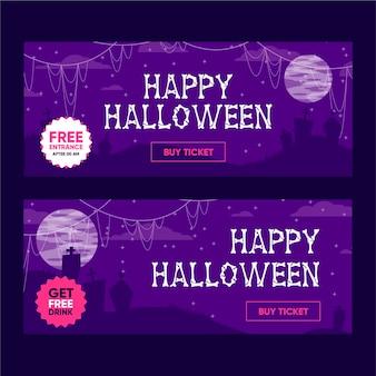 Diseño de banners de feliz halloween