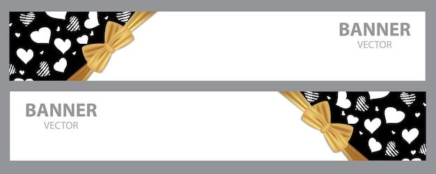 Diseño de banners de fondo de vacaciones con corazones y lazo de cinta para el día de san valentín, etc.