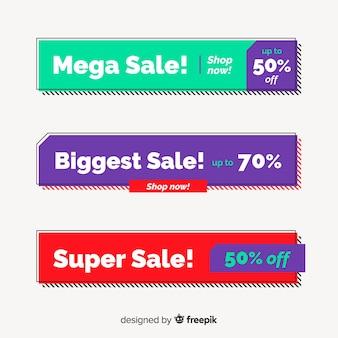 Diseño de banners geométricos para ofertas y descuentos