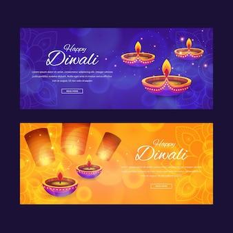 Diseño de banners horizontales de celebración de diwali.