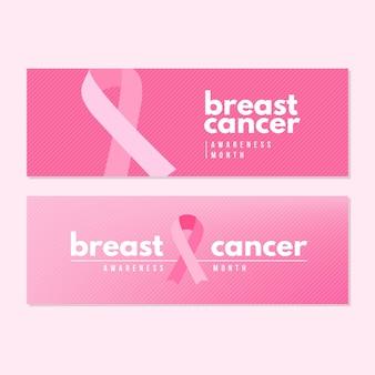 Diseño de banners del mes de concientización sobre el cáncer