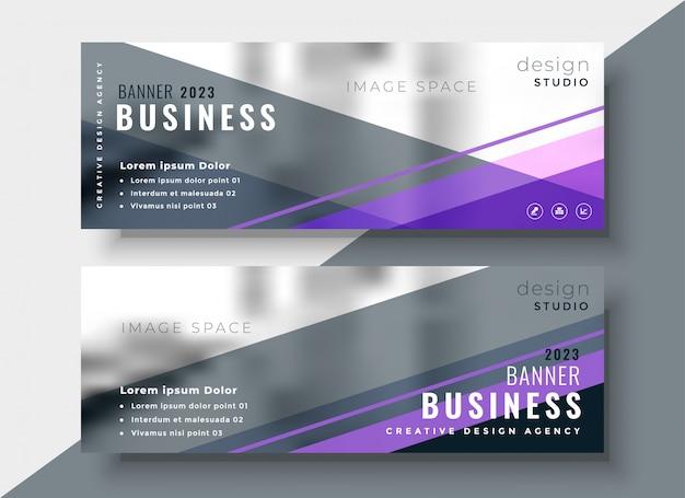 Diseño de banners de negocios abstractos geométricos