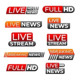 Diseño de banners de noticias de transmisión en vivo