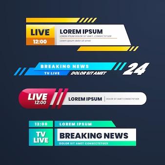 Diseño de banners de noticias de última hora en vivo