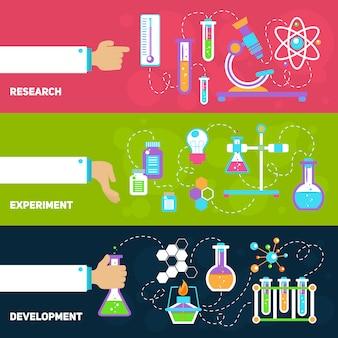Diseño de banners de química con composición de elementos.