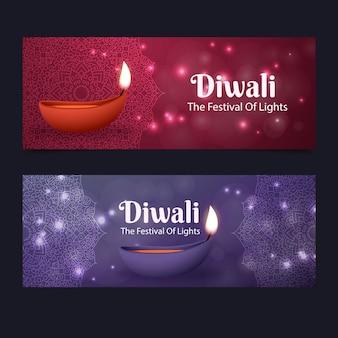 Diseño de banners de tradición diwali