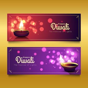 Diseño de banners de vacaciones de diwali