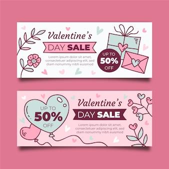 Diseño de banners de venta del día de san valentín
