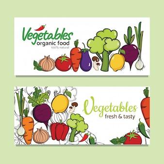 Diseño de banners con verduras orgánicas vectoriales.