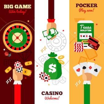 Diseño de banners verticales de casino.