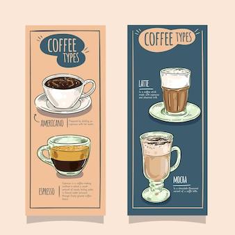 Diseño de banners verticales de tipos de café.