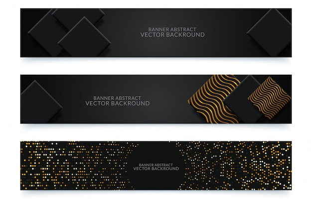 Diseño de banners web horizontales negros