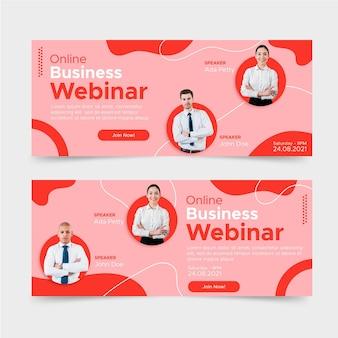 Diseño de banners de webinar de negocios planos