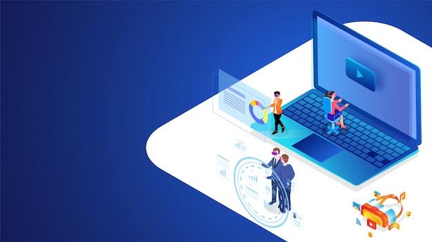 Diseño basado en el concepto de realidad virtual con ilustración de personas que trabajan juntas en diferentes lugares.