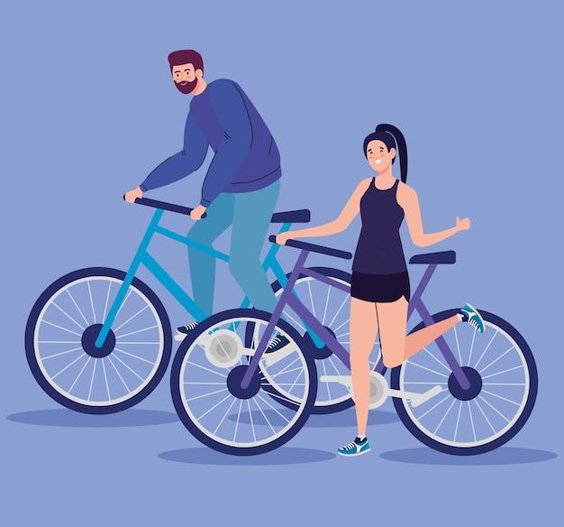 Diseño de bicicleta de mujer y hombre, ciclo de bicicleta de vehículo y tema de estilo de vida.