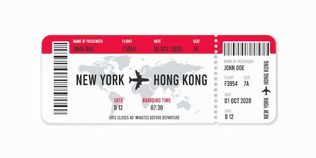 Diseño de billete de avión realista con nombre de pasajero.