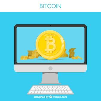 Diseño de bitcoin con pantalla