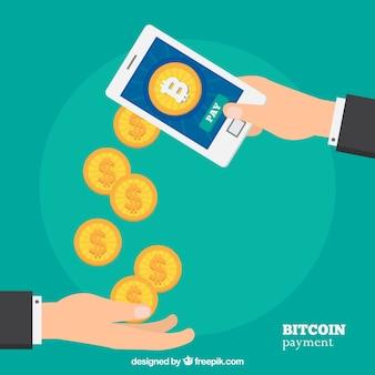 Diseño de bitcoin con smartphone