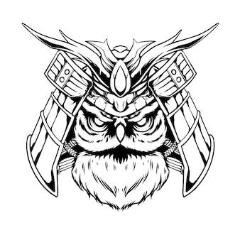 Diseño blanco y negro dibujado a mano búho samurai ilustración vectorial