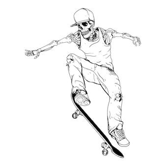Diseño blanco y negro dibujado a mano ilustración esqueleto skater premium