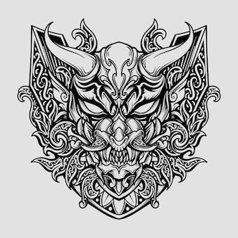 Diseño en blanco y negro dibujado a mano máscara oni hanya grabado ornamento