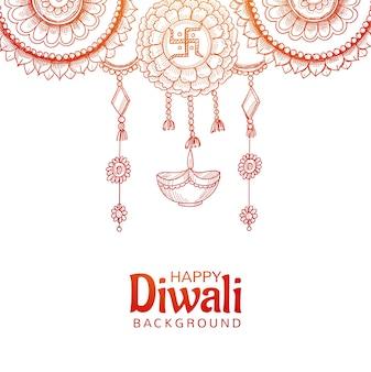 Diseño de boceto de diya colgante decorativo hermoso feliz diwali
