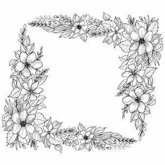 Diseño de boceto de marco floral de boda hermosa