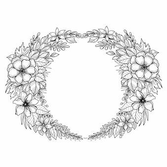 Diseño de boceto de marco floral circular de boda hermosa