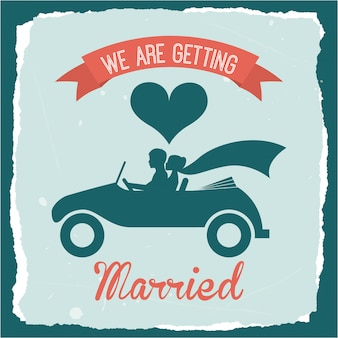 Diseño de boda sobre fondo azul ilustración vectorial