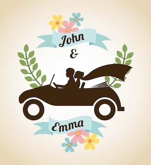 Diseño de boda sobre fondo beige ilustración vectorial