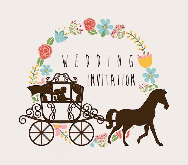 Diseño de boda sobre fondo blanco ilustración vectorial
