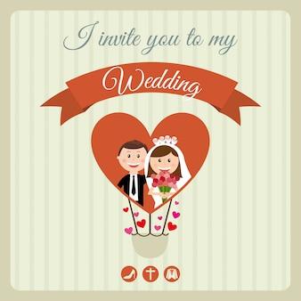 Diseño de boda sobre fondo lineal ilustración vectorial
